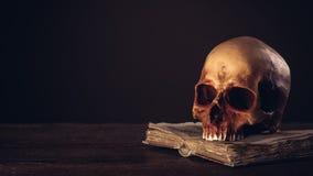Mänsklig skalle på en öppen forntida bok Royaltyfri Fotografi
