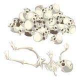 Mänsklig skelett och hög av skallar vektor Fotografering för Bildbyråer