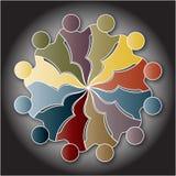 Mänskliga diagram skapar teamworkcirkeln Arkivfoto