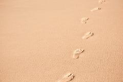 Mänskliga fotspår på strandsand Royaltyfri Fotografi