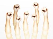 Mänskliga händer grep hård om nävar som lyfts upp i luften stock illustrationer