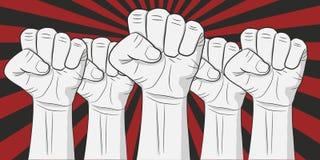 Mänskliga händer upp på den retro illustrationen för starburstrevolutionvektor vektor illustrationer