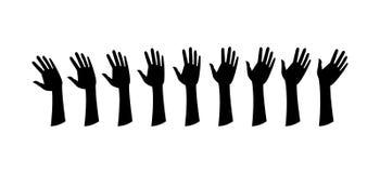 Mänskliga händer, vinkar handen royaltyfri illustrationer