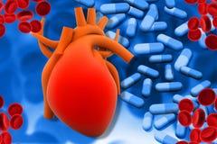 Mänskliga hjärta- och modemmediciner stock illustrationer