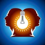 Mänskliga huvud med kulasymbolaffärsidéer Arkivbild
