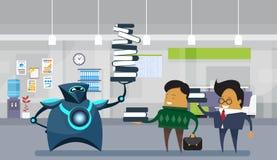 Mänskliga robotkontorsarbetare, modern Robotic hållande stor bunt av böcker över affärsmän stock illustrationer