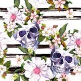 Mänskliga skallar, blommor för allhelgonaafton Upprepa modellen med färgpulverband vattenfärg royaltyfri illustrationer