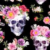 Mänskliga skallar, blommor för Dia de Muertos semestrar, dagen av döda, allhelgonaafton Sömlös modell på svart bakgrund royaltyfri illustrationer