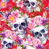 Mänskliga skallar, blommor på röd bakgrund seamless modell vattenfärg royaltyfri illustrationer