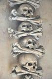 Mänskliga skallar i den Sedlec ossuaryen (tjeck: Kostnice V Sedlci) arkivbild
