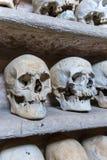 Mänskliga skallar inom en katakomb Royaltyfri Foto