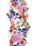 Mänskliga skallar med blommor seamless kant Vattenfärgram stock illustrationer