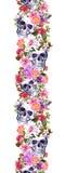 Mänskliga skallar med blommor seamless kant Vattenfärgram Fotografering för Bildbyråer