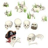 Mänskliga skallar och piratkopierar symboler, tecknad filmstil vektor illustrationer