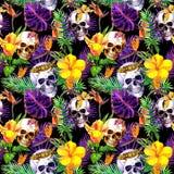 Mänskliga skallar, tropiska sidor, djur, exotiska blommor Upprepa modellen på svart bakgrund vattenfärg stock illustrationer