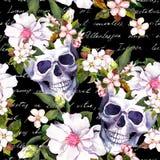 Mänskliga skallar, vita blommor Sömlös tappningmodell med skriftliga bokstavsanmärkningar för hand på svart bakgrund vattenfärg royaltyfri illustrationer