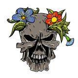 Mänskliga skalle och blommor Fotografering för Bildbyråer