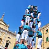 mänskliga spain tarragona för castells torn Arkivbild