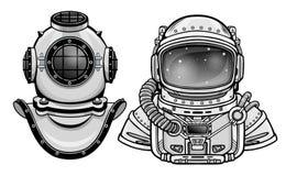 Mänskliga uppfinningar: forntida dykninghjälm, dräkt för astronaut` s Past och framtid Djupvetenskap royaltyfri illustrationer