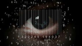 Mänskligt öga med den inbyggda barcoden i den cyborg stock video