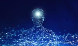 mänskligt Den Wireframe modellen med anslutning fodrar på blå bakgrund vektor illustrationer