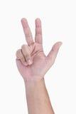Mänskligt finger för handshowtecken tre Fotografering för Bildbyråer