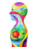 Mänskligt huvud, chakramakt, abstrakt tänka för inspiration stock illustrationer