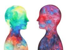 Mänskligt huvud, chakramakt, abstrakt tanke för inspiration royaltyfri illustrationer