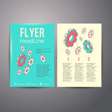 Mänskligt huvud för abstrakt broschyrreklambladdesign med Arkivbild