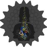 Mänskligt huvud med automatisk maskineribransch, Royaltyfri Foto