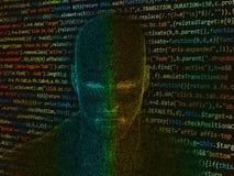 Mänskligt huvud med den java koden Fotografering för Bildbyråer