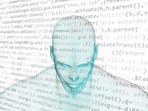 Mänskligt huvud med den java koden Royaltyfri Fotografi