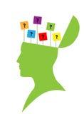 Mänskligt huvud med etiketten för frågefläck Royaltyfri Fotografi