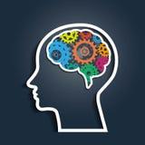 Mänskligt huvud med färgrika kugghjul royaltyfri illustrationer
