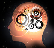 Mänskligt huvud med hjärnbegrepp Arkivbilder