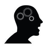 Mänskligt huvud med kugghjulvektorillustrationen Royaltyfri Bild