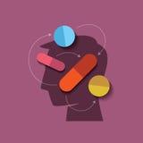 Mänskligt huvud, med medicin vektor illustrationer