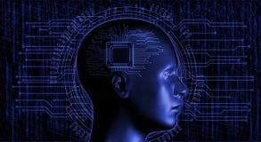 Mänskligt huvud med mikrochipens Arkivfoto