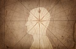 Mänskligt huvud och kompass Begreppet på ämnet av navigering, royaltyfri illustrationer