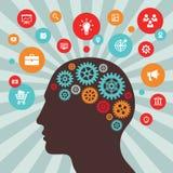 Mänskligt huvud och symboler - vektorbegreppsillustration i plan stildesign Idérik idéinspirationorientering Hjärnabstrakt begrep stock illustrationer