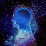 Mänskligt huvud och universum Arkivfoton