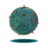 mänskligt nätverk för grön världssfär Arkivbilder