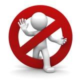 mänskligt rött stopp för tecken 3d Fotografering för Bildbyråer