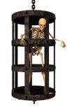 mänskligt skelett för tolkning 3D i bur på vit Arkivfoto
