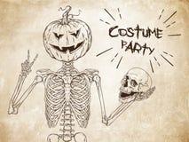 Mänskligt skelett med halloween pumpa i stället för head posera stock illustrationer