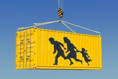 Mänskligt smuggla, begrepp för olagligt tillträde framförande 3d vektor illustrationer