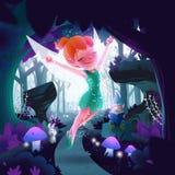 Märchen in der Waldillustration lizenzfreie abbildung