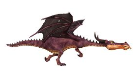 Märchen-Drache der Wiedergabe-3D auf Weiß Stock Abbildung