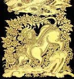 Märchen Löwe in der traditionellen siamesischen Artkunst Stockbilder