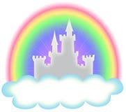 Märchen-Schloss und Regenbogen Stockfotos
